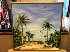 Welcome to Vanderbilt Beach | Original Oil Painting | Framed in Gold | 31.5 by 31.5 inches | Artist Claire Howard-Oil Painting-Sterling-and-Burke