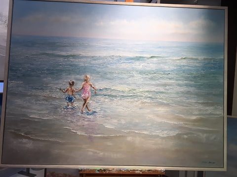 "CUSTOM ORDER | Original Oil Painting | ""Sweet Big Sister"" 