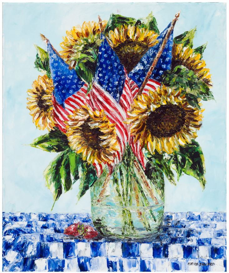 American Sunshine | Patriotic Sun Flower Art | Giclee Print | 11 by 14 Inches | Artist Claire Howard-Giclee Print-Sterling-and-Burke