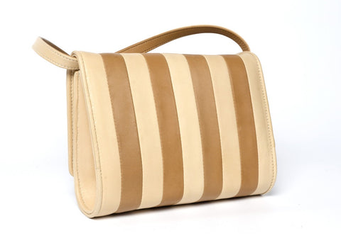 The Claire Shoulder Bag, Striped Creme-Handbag-Sterling-and-Burke