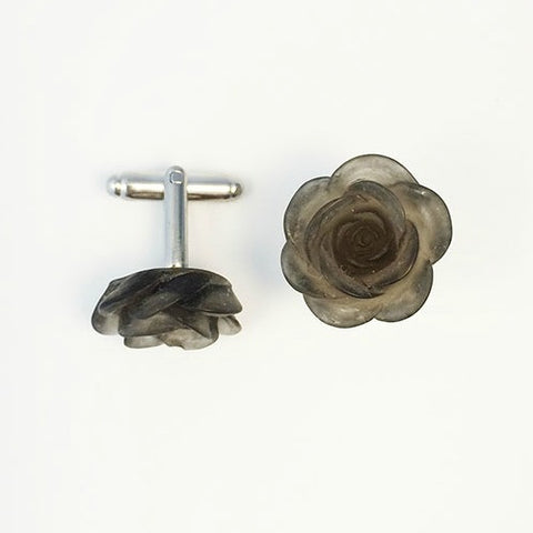 Flower Cufflinks | Black Floral Cuff Links | Sheer Finish Cufflinks | Hand Made in USA-Cufflinks-Sterling-and-Burke