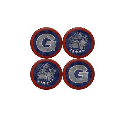 Needlepoint Collection | Georgetown University Needlepoint Coaster Set | Hoya / Bull Dog | Blue and Grey | Smathers and Branson-Coasters-Sterling-and-Burke