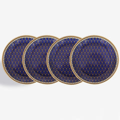 Halcyon Days Antler Trellis Coasters in Midnight, Set of 4-Bone China-Sterling-and-Burke