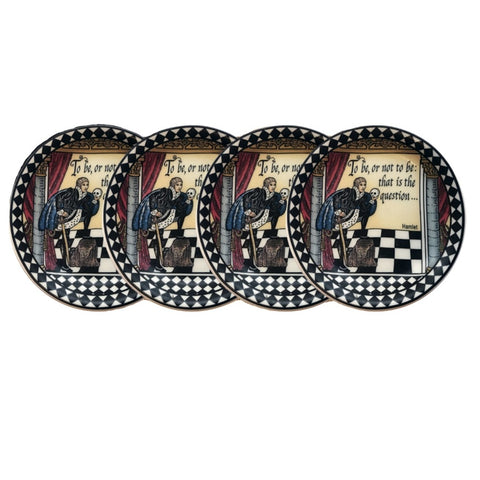 Halcyon Days Shakespeare Coasters, Set of 4-Bone China-Sterling-and-Burke