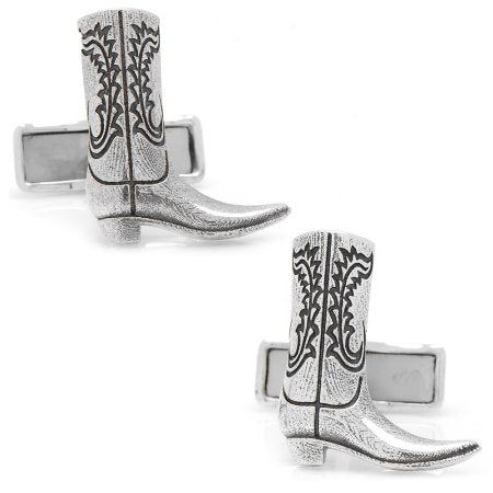 Cowboy Boot Cufflinks | Sterling Silver Cuff Links | Engraveable | Personalized Initials