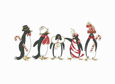 Crane & Co. Stationery | Engraved Holiday Penguins Christmas Card | Dancing Penguins | Engraved Penguins | Lined Envelope with Red Solid Paper | Single Card with Envelope | Sterling and Burke-Stationery-Sterling-and-Burke