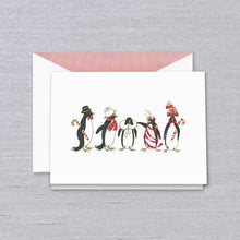 Load image into Gallery viewer, Crane & Co. Stationery | Engraved Holiday Penguins Christmas Card | Dancing Penguins | Engraved Penguins | Lined Envelope with Red Solid Paper | Set of 5 | Sterling and Burke-Stationery-Sterling-and-Burke