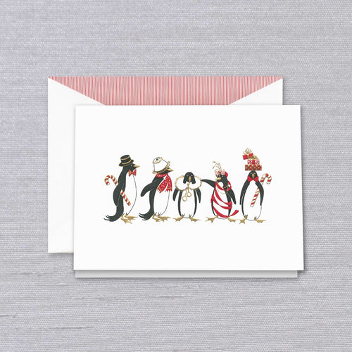 Crane & Co. Stationery | Engraved Holiday Penguins Christmas Card | Dancing Penguins | Engraved Penguins | Lined Envelope with Red Solid Paper | Set of 5 | Sterling and Burke-Stationery-Sterling-and-Burke