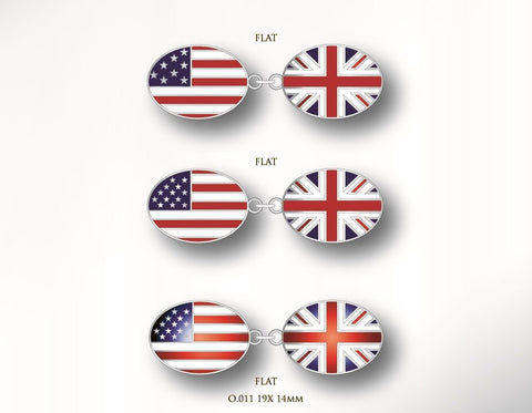 USA / American Flag and UK / British Flag Cufflinks | Double Sided | Custom Produced | Sterling Silver-Cufflinks-Sterling-and-Burke