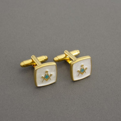 Custom Cufflinks | Custom Logo | Square Cuff Links with Gold Plate | Fine Quality Enamel | Custom Produced | Gold Plate-Cufflinks-Sterling-and-Burke