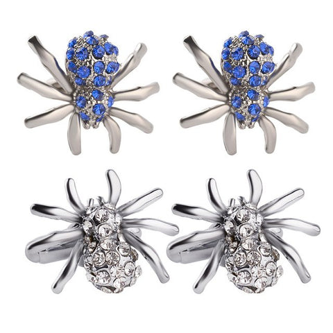 Spider Cufflinks | Blue | Silver with Crystal Faux Diamonds | Sterling and Burke