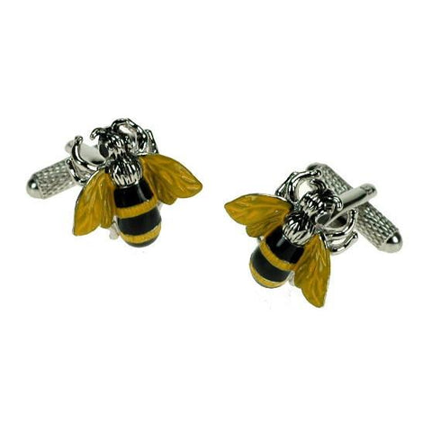 Busy Bee Cufflinks | Bumble Bee Cufflinks | Black and Yellow on Silver Bee Cuff Links