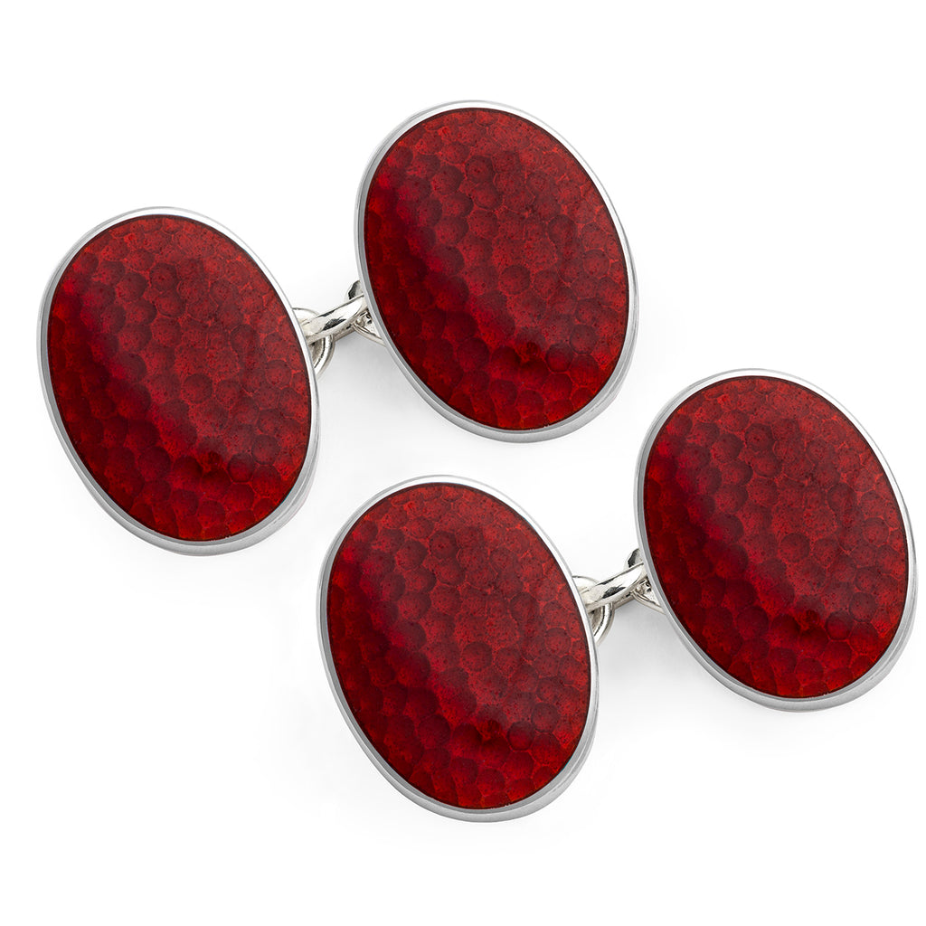 Budd Honeycomb Cloisonné Enamel Cufflinks in Red-Cufflinks & Studs-Sterling-and-Burke