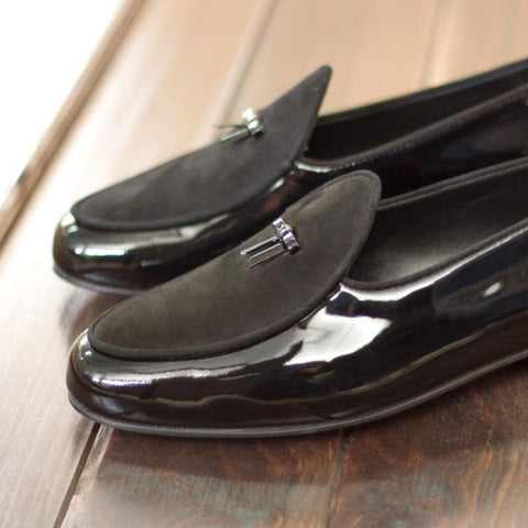 Custom Belgian Slipper Shoes | Black Patent Leather and Black Suede with Bow | Extraordinary Quality | Sterling and Burke | Navy Blue-Bespoke Shoes-Sterling-and-Burke