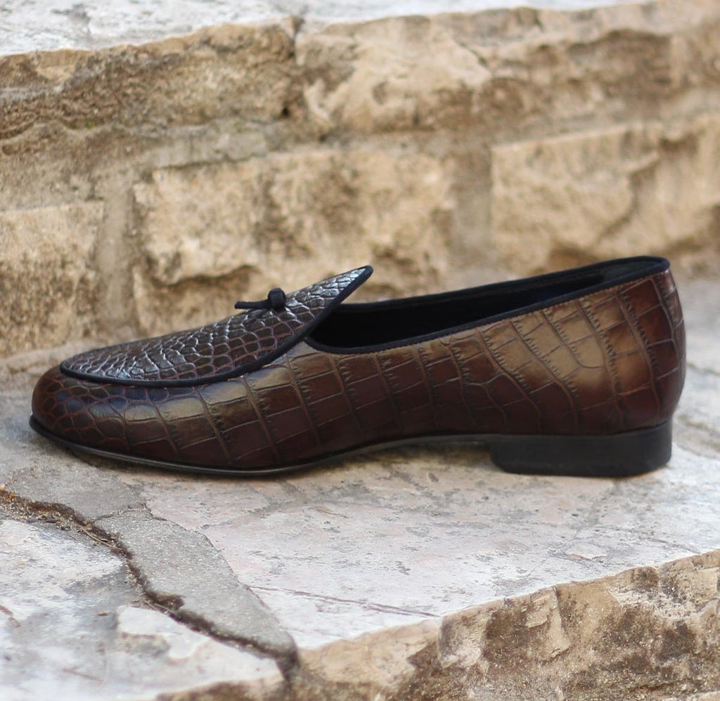 Custom Belgian Slipper Shoes | Dark Brown Croc Leather with Suede Trim and Bow | Extraordinary Quality | Sterling and Burke-Bespoke Shoes-Sterling-and-Burke