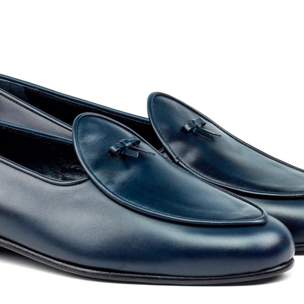 Custom Belgian Slipper Shoes | Navy Blue Leather with Bow | Extraordinary Quality | Sterling and Burke-Bespoke Shoes-Sterling-and-Burke