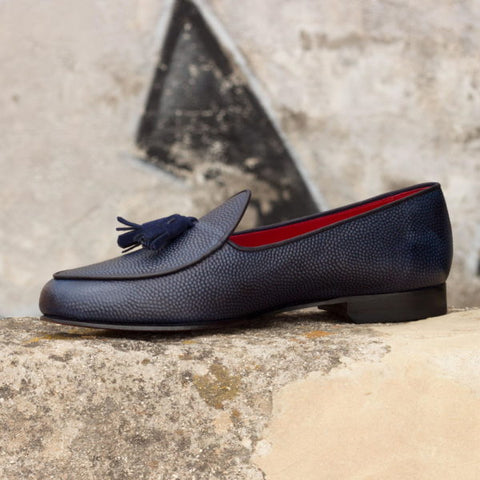 Custom Belgian Slipper Shoes | Navy Pebble Calf with Navy Suede Trim and Navy Leather Tassel | Extraordinary Quality | Sterling and Burke-Bespoke Shoes-Sterling-and-Burke