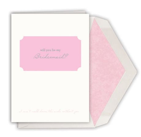 """Will You be my Bridesmaid?"" hand engraved Single Card by Dempsey and Carroll-Stationery-Sterling-and-Burke"
