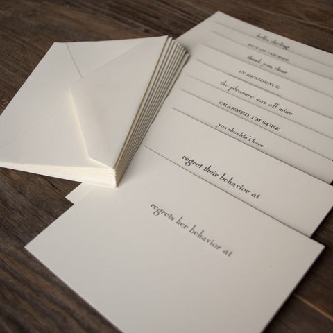 """Regrets Her Behavior At"" 
