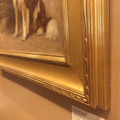 "Antique Oil Painting | Dog with Baby Painting | A Watchful Eye by John Henry Dolph | 23 3/16"" by 27 3/16""-Oil Painting-Sterling-and-Burke"