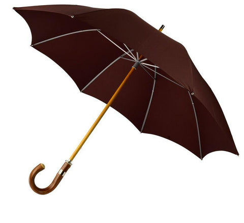 Custom Color Doorman's Umbrella | Solid Canopy | Wood Shaft | Chestnut Handle | Size 27 | Solid Colour Canopy