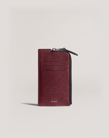 Dunhill Cadogan Bicolor Zip Card Case in Burgundy and Black