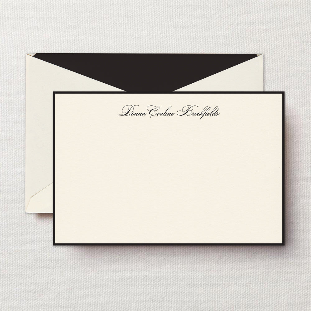 Black Bordered Cards on Ecruwhite Kid Finish-Stationery-Sterling-and-Burke