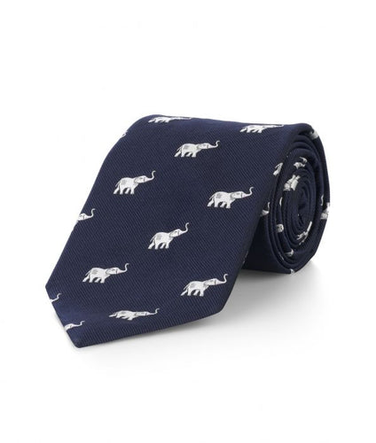 Budd Elephant Motif Silk Tie in Navy and White-Necktie-Sterling-and-Burke