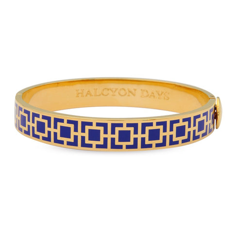 Enamel Bangle | 10mm Mosaic Hinged Bangle | Deep Cobalt and Gold | Halcyon Days | Made in England
