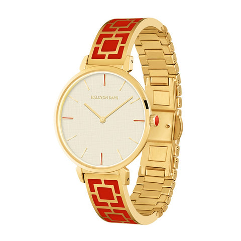 Maya Bangle Strap Watch | Red and Gold | Halcyon Days | Made in England