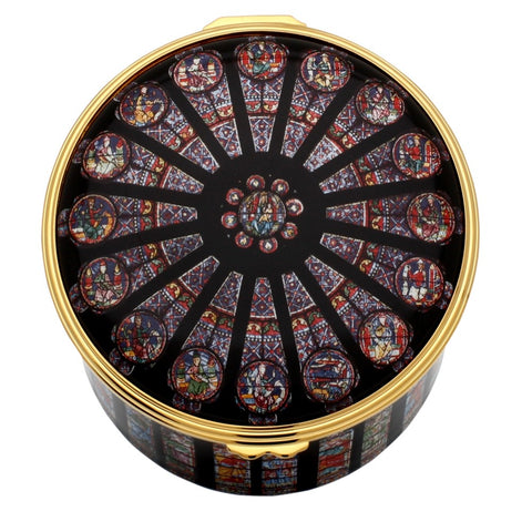 Enamel Box | The Rose Window at Westminster Abbey Musical Enamel Box | Halcyon Days | Made in England-Musical Enamel Box-Sterling-and-Burke