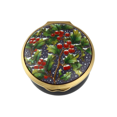 Christmas Enamels | Holly in the Snow Christmas Enamel Box | Happy Christmas | Merry Christmas | Holiday Decoration | Holiday and Winter Enamels Decoration | Halcyon Days | Made in England