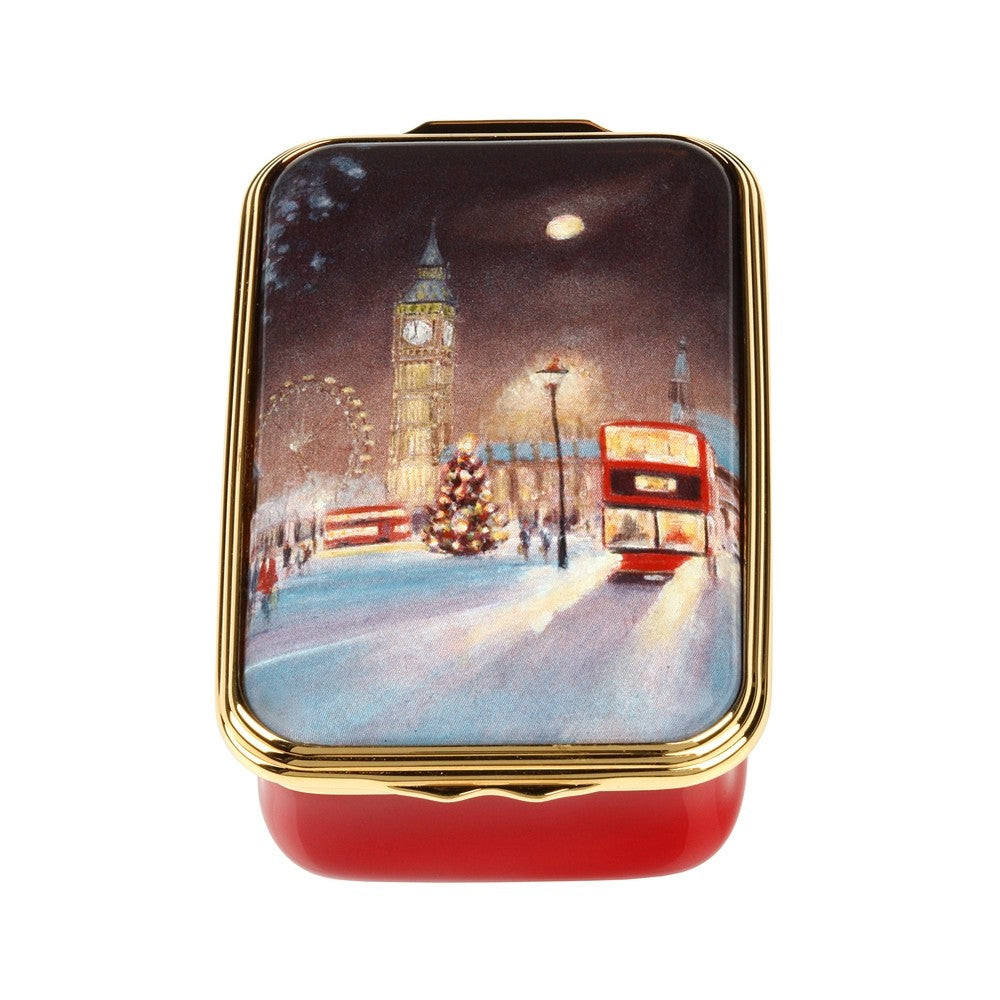 Halcyon Days Christmas in Westminster Enamel Box-Enamel Box-Sterling-and-Burke