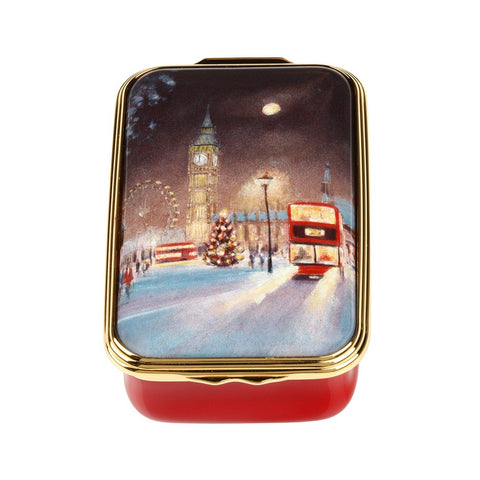 Christmas Enamels | Christmas in Westminster Christmas Enamel Box | Happy Christmas | Merry Christmas | Holiday Decoration | Holiday and Winter Enamels Decoration | Halcyon Days | Made in England