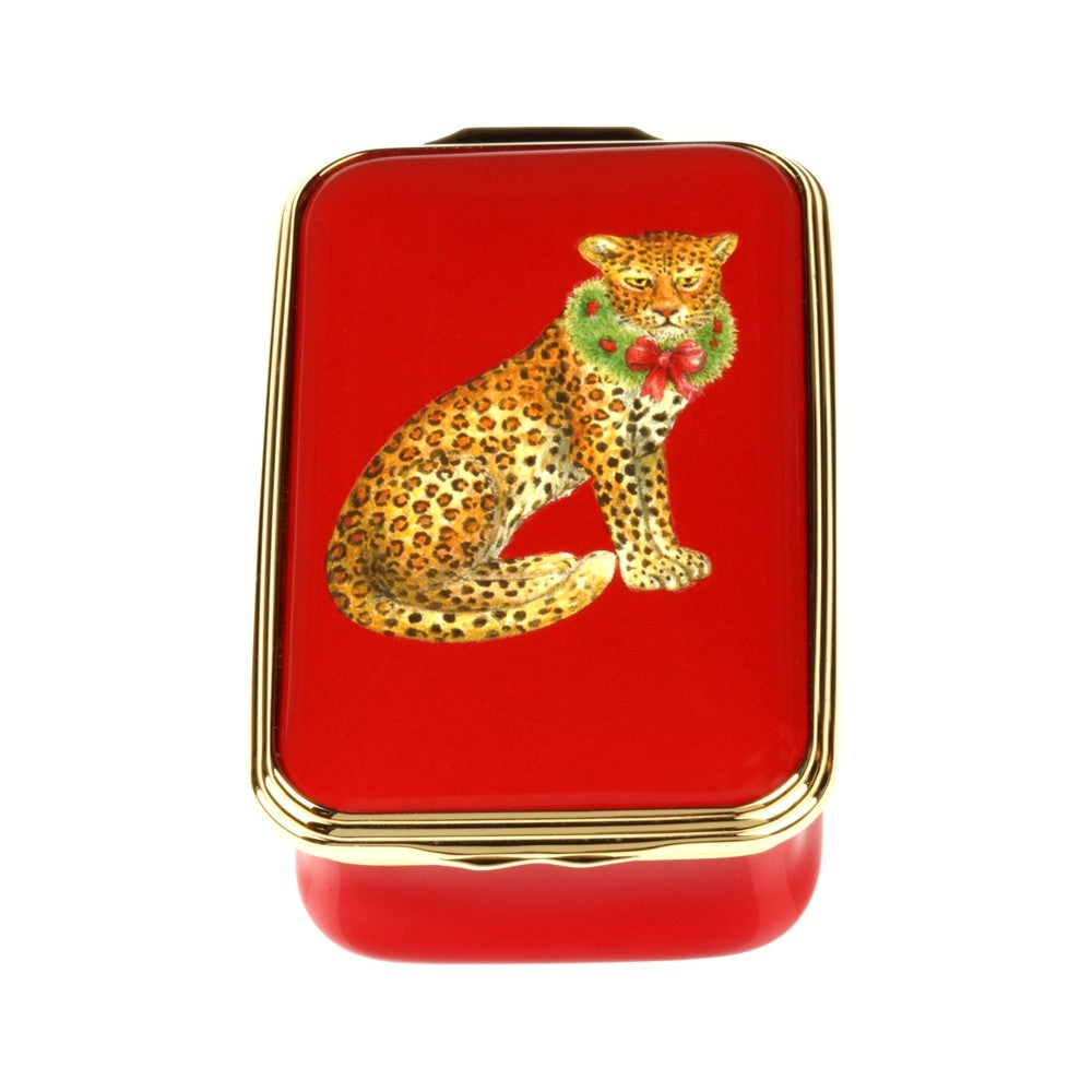 Christmas Enamels | Festive Leopard Christmas Enamel Box, Small | Happy Christmas | Merry Christmas | Holiday Decoration | Holiday and Winter Enamels Decoration | Halcyon Days | Made in England-Enamel Box-Sterling-and-Burke