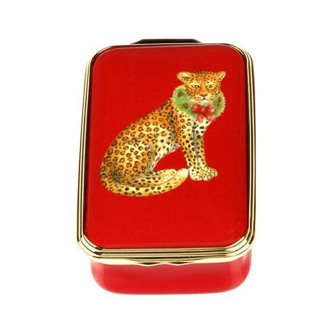 Christmas Enamels | Festive Leopard Christmas Enamel Box, Small | Happy Christmas | Merry Christmas | Holiday Decoration | Holiday and Winter Enamels Decoration | Halcyon Days | Made in England