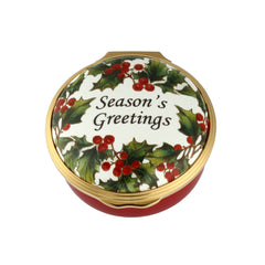 Christmas Enamels | Season's Greetings Christmas Enamel Box | Happy Christmas | Merry Christmas | Holiday Decoration | Holiday and Winter Enamels Decoration | Halcyon Days | Made in England-Enamel Box-Sterling-and-Burke
