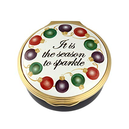 Christmas Enamels | Season to Sparkle Christmas Enamel Box | Happy Christmas | Merry Christmas | Holiday Decoration | Holiday and Winter Enamels Decoration | Halcyon Days | Made in England-Enamel Box-Sterling-and-Burke