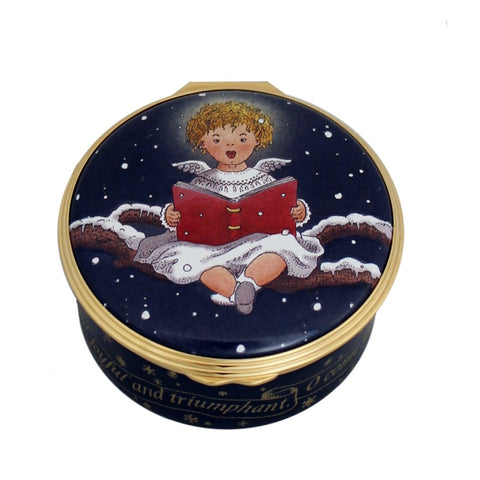Christmas Enamels | Cherub Singing Musical Enamel Box | Happy Christmas | Merry Christmas | Holiday Decoration | Holiday and Winter Enamels Decoration | Halcyon Days | Made in England