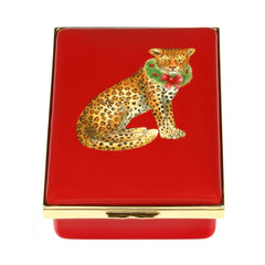 Christmas Enamels | Festive Leopard Christmas Enamel Box, Large | Happy Christmas | Merry Christmas | Holiday Decoration | Holiday and Winter Enamels Decoration | Halcyon Days | Made in England-Enamel Box-Sterling-and-Burke
