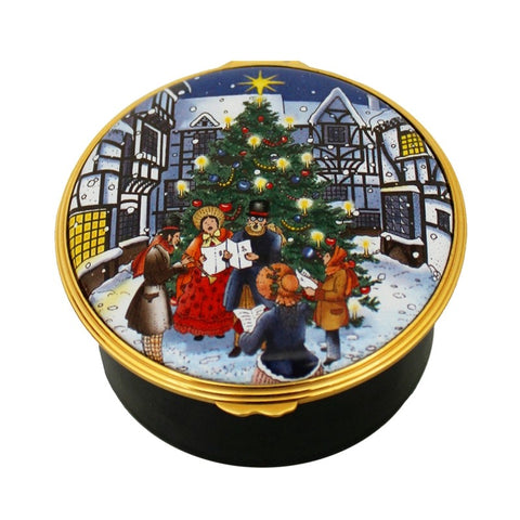 Christmas Enamels | Christmas Lights Musical Enamel Box | Happy Christmas | Merry Christmas | Holiday Decoration | Holiday and Winter Enamels Decoration | Halcyon Days | Made in England