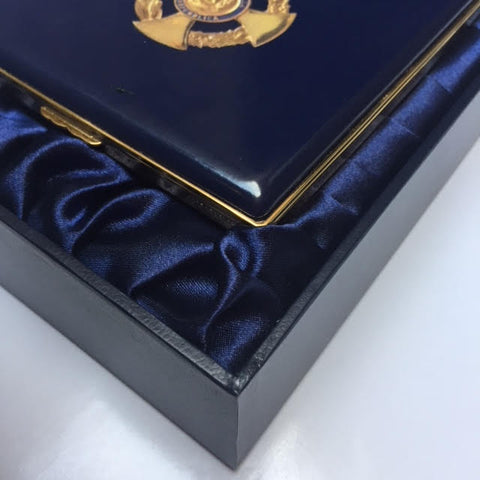 5 Inch Custom Enamel Box | Bespoke Enamel Box | Custom Art Award | Corporate Gift Box | Interior: Message only | Halcyon Days in DC at Sterling and Burke-Enamel Box-Sterling-and-Burke