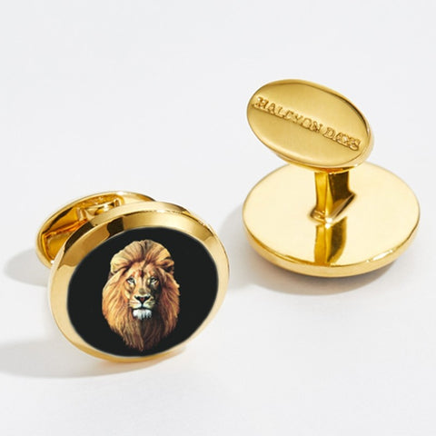 Enamel Cufflinks | Lion Head Round Cufflinks | Black and Gold | Halcyon Days | Made in England
