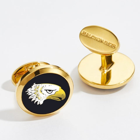 Enamel Cufflinks | Eagle Head Round Cufflinks | Black and Gold | Halcyon Days | Made in England