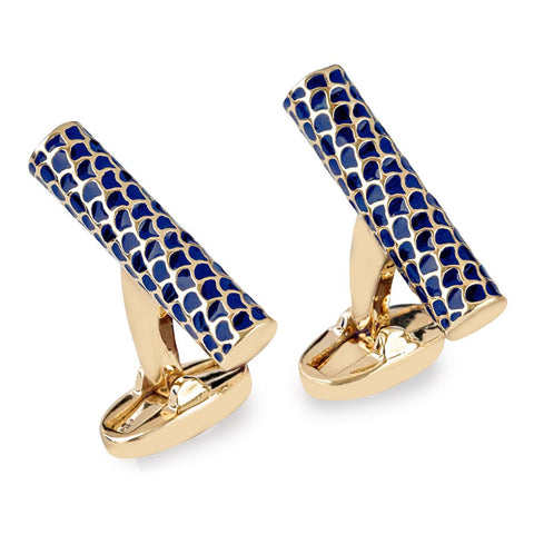 Enamel Cufflinks | Salamander Single Tube Cufflinks | Deep Cobalt and Gold | Halcyon Days | Made in England