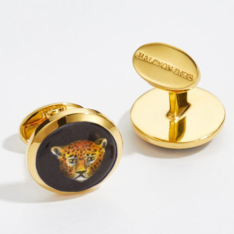 Halcyon Days Leopard Head Cufflinks in Black and Gold-Enamel Cufflinks-Sterling-and-Burke