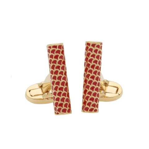 Enamel Cufflinks | Salamander Single Tube Cufflinks | Red and Gold | Halcyon Days | Made in England