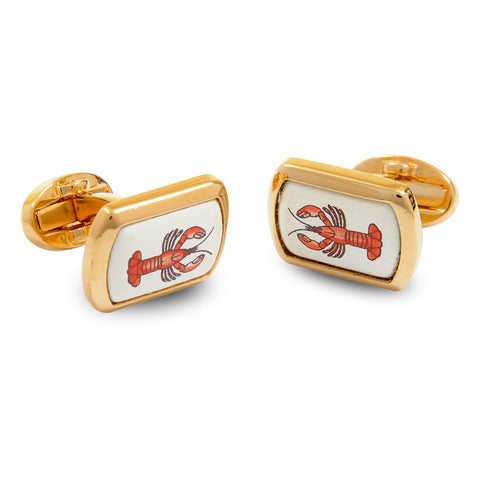 Enamel Cufflinks | Lobster Cufflinks | Rectangular Gold | Halcyon Days | Made in England