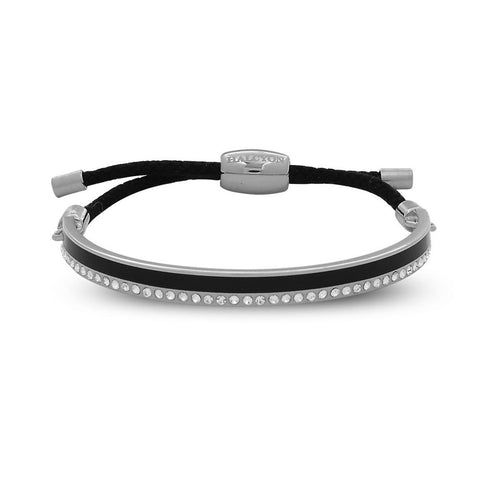 Enamel Bangle | 6mm Skinny Plain Sparkle Friendship Bangle | Black and Palladium | Halcyon Days | Made in England