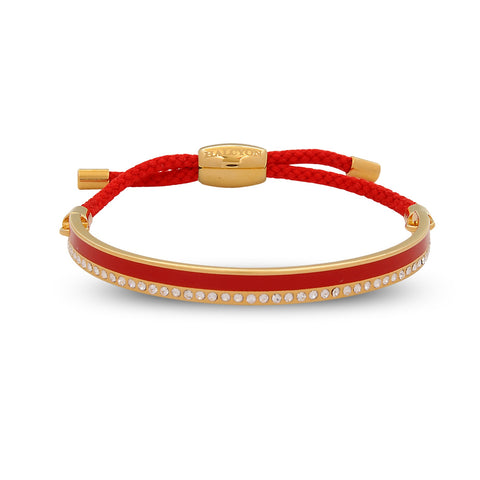 Enamel Bangle | 6mm Skinny Plain Sparkle Friendship Bangle | Red and Gold | Halcyon Days | Made in England
